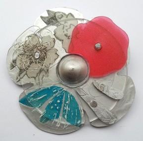 broche bloem 1 - aluminium, kunststof - 7 - € 80