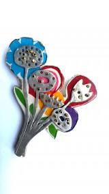 broche bloemen - aluminium, kunststof, messing, papier - 7 x 5 - € 80